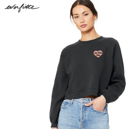 Not Today Satan Embroidered Patch ... Slouchy Mid-Crop Raglan Sleeve Sweatshirt