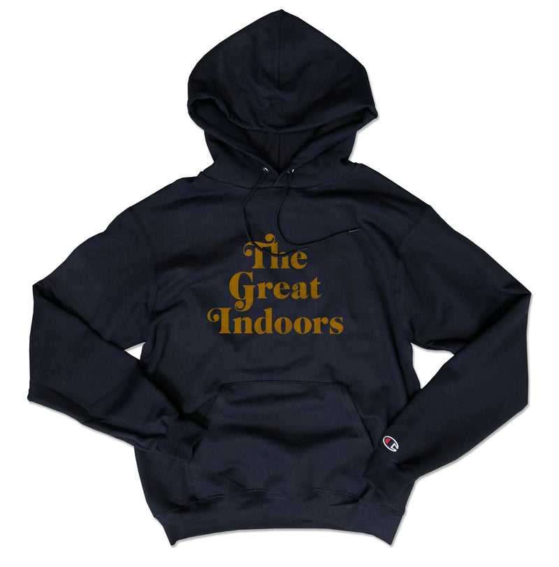 The Great Indoors ... Navy Champion Brand Unisex Hoodie-Everfitte-[drinking shirt]-[alcohol shirt]-[bachelorette party]-[bridal party]-[funny shirt]-[funny tee]-[shirt with words]-[coffee in the shower]-[lululemon]-[chaser]-Everfitte
