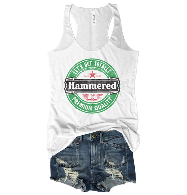 LIMITED: Let's Get Totally Hammered...Funny St. Pattys Triblend Racerback Tank