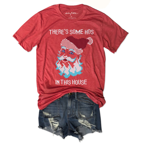 LIMITED: There's Some Hos In This House ... Red Holiday Vintage Red Triblend Unisex Tee