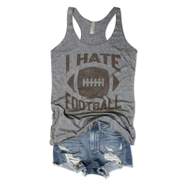 I Hate Football ...Grey Triblend Racerback Tank