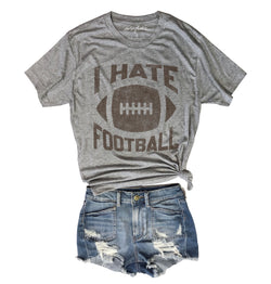 Sale! I Sale Hate Football .....Heather Grey Unisex Triblend Tee