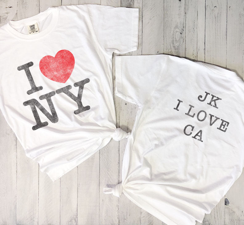 I Heart NY JK I Love CA... Super Soft Cotton, Pigment Dyed Unisex Tee