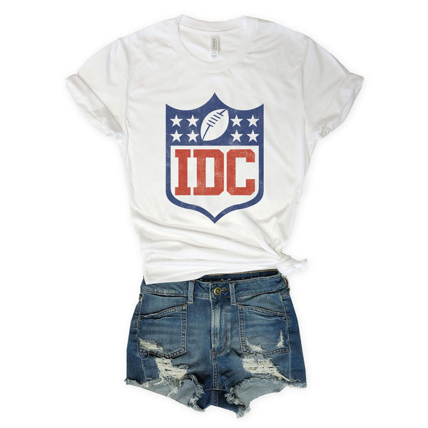 SALE!  FOOTBALL IDC (I Don't Care) White Unisex Tee