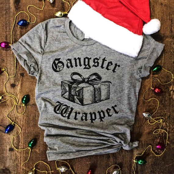 Gangster Wrapper...Funny Holiday Heather Grey Triblend Unisex Tee