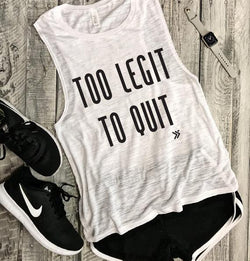 Too Legit to quit, gym tank, muscle, muscle tank, tshirt, retro, vintage, 80's, 90's, urban, funny gym muscle, workout tank, workout tee