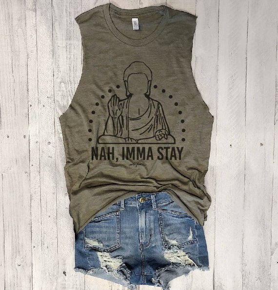 SALE! NAH IMMA STAY...  Slouchy Raw Edge Muscle Tee