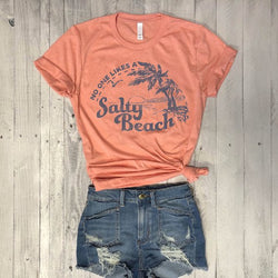 Salty, funny beach tee, vintage,retro, california, hawaii, florida, bachelorette party, funny shirt, unisex, peach, millenial pink, urban outfitters, nordstroms, nike, vintage concert tee, retro concert tee