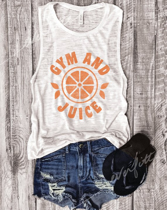 SALE! Gym and Juice ... White  Muscle Tee