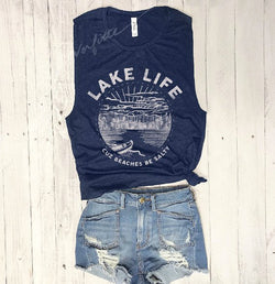 LIMITED: Lake Life, Cuz Beaches be Salty... Navy Muscle Tee-Everfitte-[lululemon]-[chaser]-[athleta]-[spirtual gangster]-[champion]-[graphic tee]-[gym shirt]-[workout tee]-[funny shirt]-[funny tee]-[muscle tee]-Everfitte