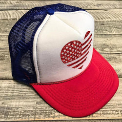 USA Red Flag Glitter Heart... USA  Trucker Hat