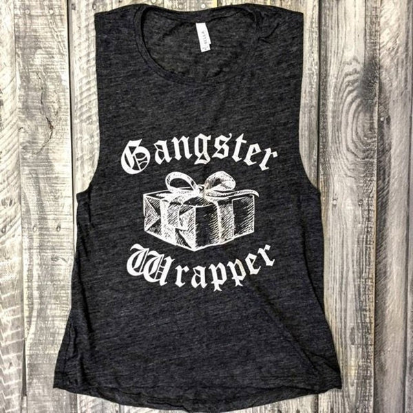 Gangster Wrapper...Funny Charcoal Slub Muscle Tee