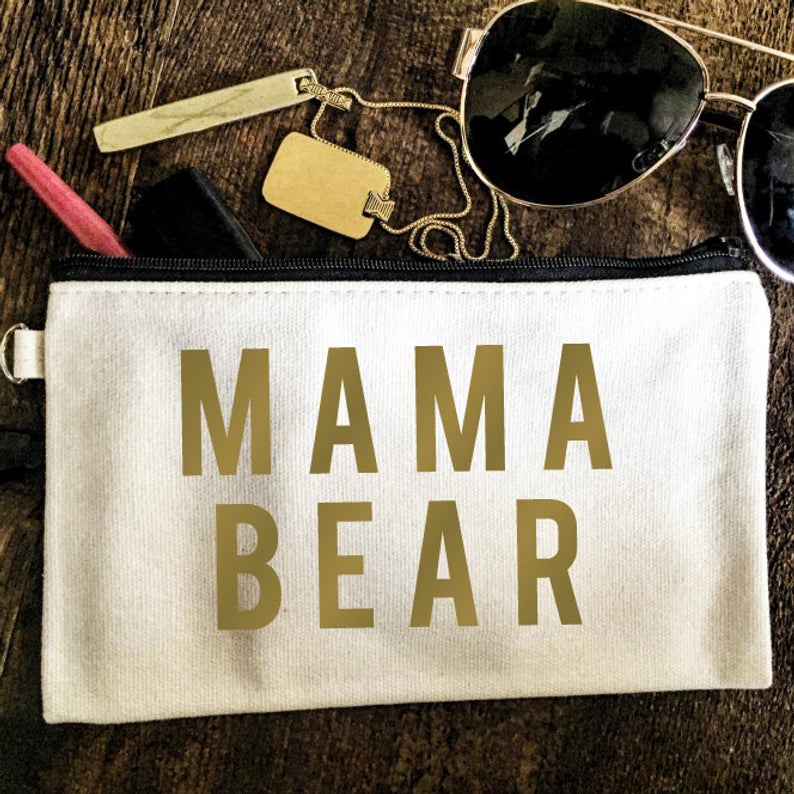 mama bear, pouch, mom life, mama bear, makeup bag, pouch, everfitte,