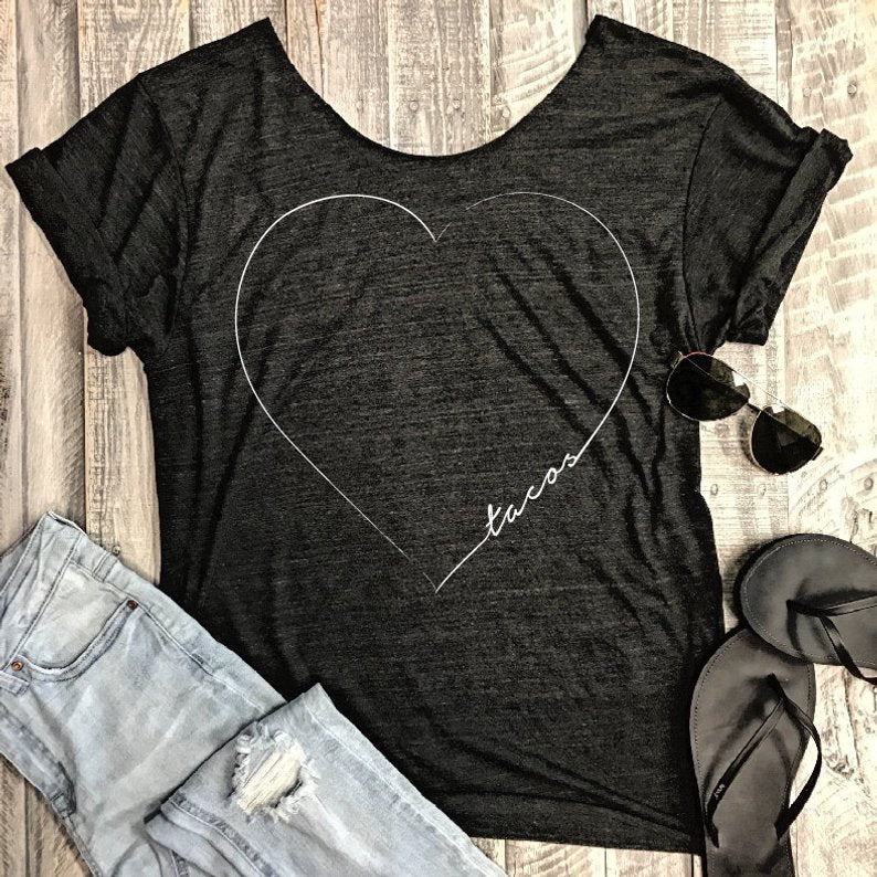 Tacos Heart .. Charcoal One Size Slouchy Raw Neck Tee