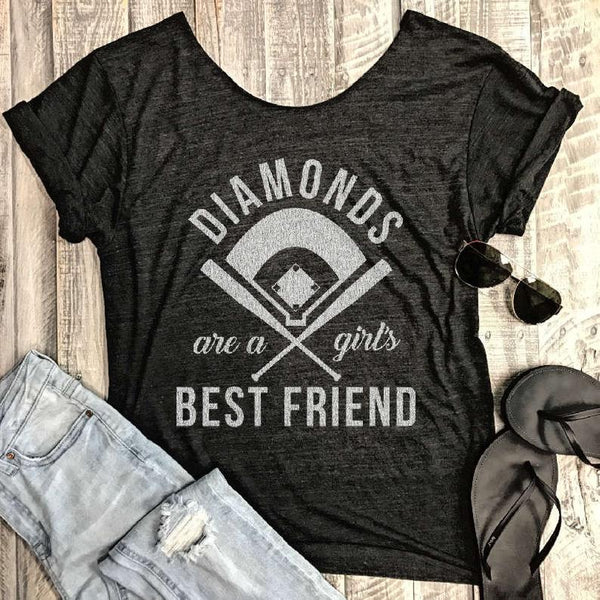 Sale! Diamonds Are A Girls Best Friend... Charcoal One Size Slouchy Raw Neck Tee