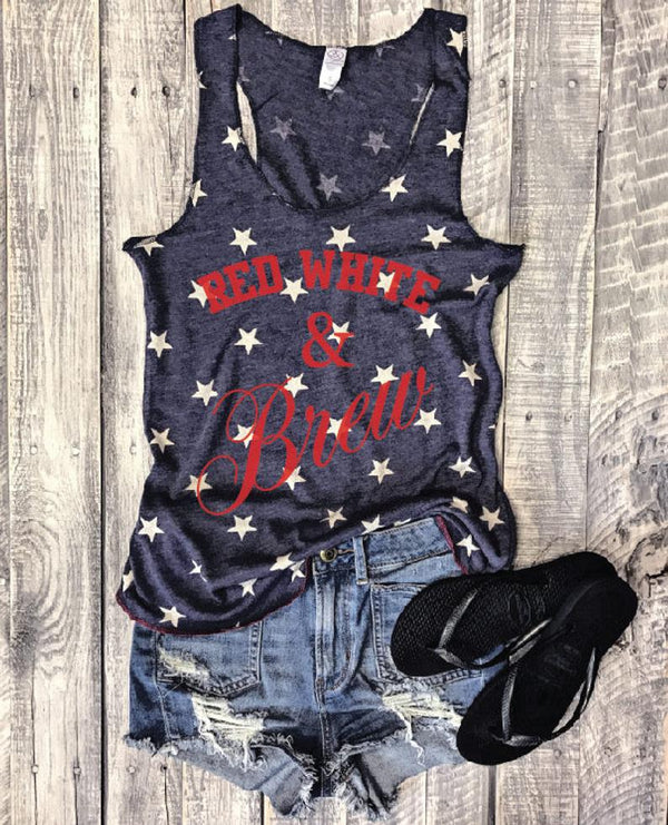 4th of july tank, star tank top, funny wine tank top, bachelorette party, red white and brew tank, party tank top, retro tank, beer tank top, star spangled hammered tank top, merica tank, america tank, american tank top, everfitte, vintage tank top, retro tank top