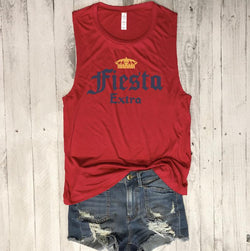Fiesta Extra... Funny Red Muscle Tee-Everfitte-[lululemon]-[chaser]-[athleta]-[spirtual gangster]-[champion]-[graphic tee]-[gym shirt]-[workout tee]-[funny shirt]-[funny tee]-[muscle tee]-Everfitte