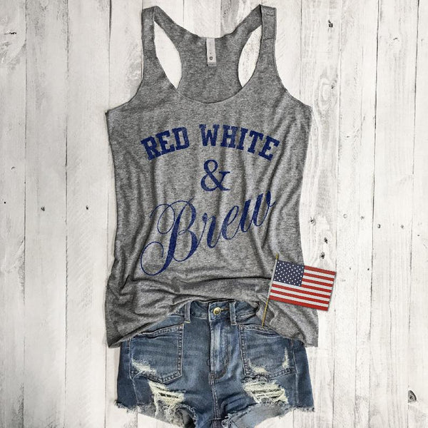 Red White and Brew...4th of July Retro Grey Triblend Racerback Tank