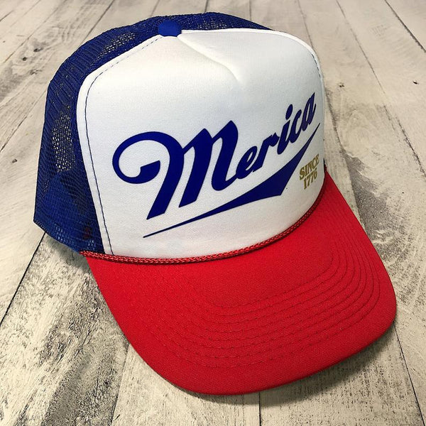 Merica Hat, Usa Hat, Merica Trucker Hat, funny white trash hat,  Red white and blue hat, Miller beer hat, retro hat, funny america hat, trucker hat,