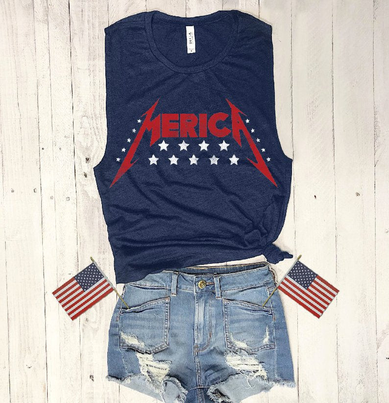 merica, 4th of July, star spangled, america, eagle, Muscle tank, Metalica, concert tee, red white blue, vintage tee, retro t-shirt, vintage design, graphic tee, workout tee