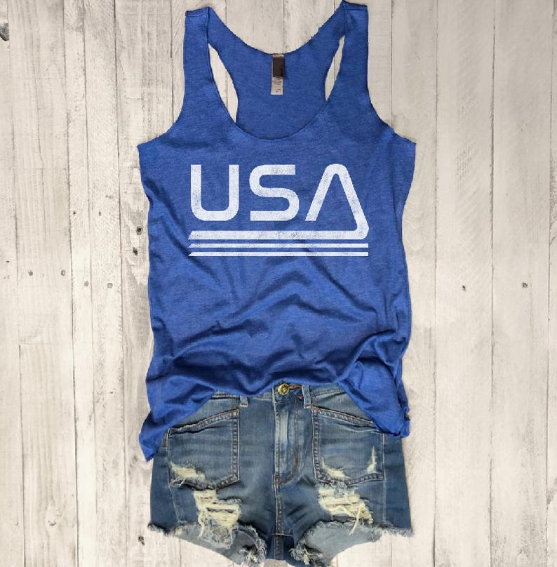 usa tank top, retro usa tank, 4th of july tank, retro racerback tank, nasa tank top, urban outfitters, fourth of july, independence day tank, womens tank top, everfitte, vintage tank top,