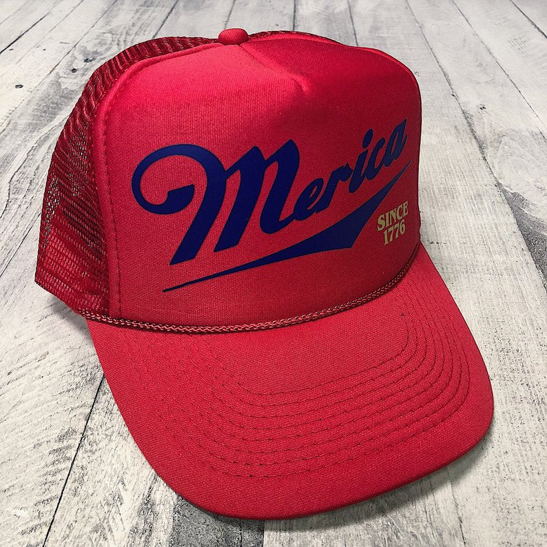 Red Merica Since 1776... USA Red White & Blue Trucker Hat-Everfitte-Everfitte
