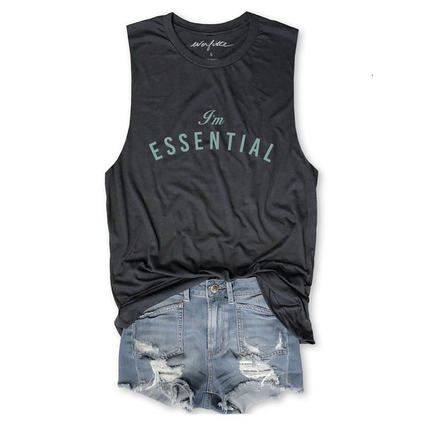 DEAL OF THE DAY!! I'm Essential ... Funny Unisex Super Soft Triblend Raw Edge Muscle Tee-Everfitte-[drinking shirt]-[alcohol shirt]-[bachelorette party]-[bridal party]-[funny shirt]-[funny tee]-[shirt with words]-[coffee in the shower]-[lululemon]-[chaser]-Everfitte