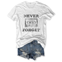 SALE! Never Forget ... Vintage White Distressed Garment Dyed Unisex Tee