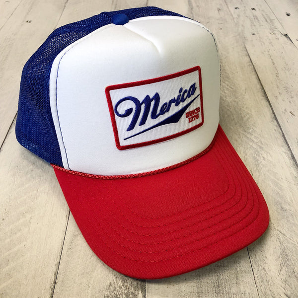 Merica Embroidered Patch... USA Red White & Blue Trucker Hat-Everfitte-RED WHITE BLUE-Everfitte