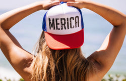 MERICA... USA Red White & Blue Trucker Hat-Everfitte-[funny family shirt]-[drinking shirts]-[bachelor shirt]-[bachelorette party tees]-[bridal party shirt]-[bridal party tee]-[group drinking tees]-[funny vodka shirt]-[funny tequila tee]-[funny tequila tshirt]-[funny whiskey tshirt]-[funny drinking shirt]-[tequila t-shirt]-[vodka t-shirt]-[whiskey t-shirt]-Everfitte