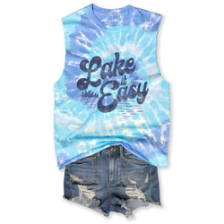 Lake It Easy ....Tie Dye, Raw Edge, Cotton Muscle Tee - ONE SIZE