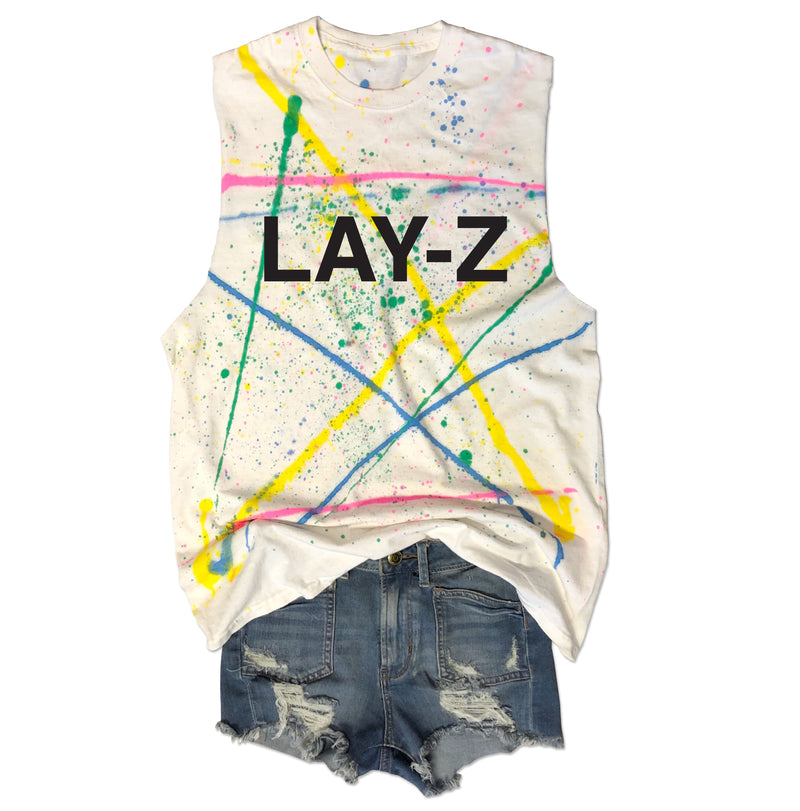 LAY-Z ... Retro 80s Splatter Paint, Raw Edge, Cotton Muscle Tee-Everfitte-[lululemon]-[chaser]-[athleta]-[spirtual gangster]-[champion]-[graphic tee]-[gym shirt]-[workout tee]-[funny shirt]-[funny tee]-[muscle tee]-Everfitte