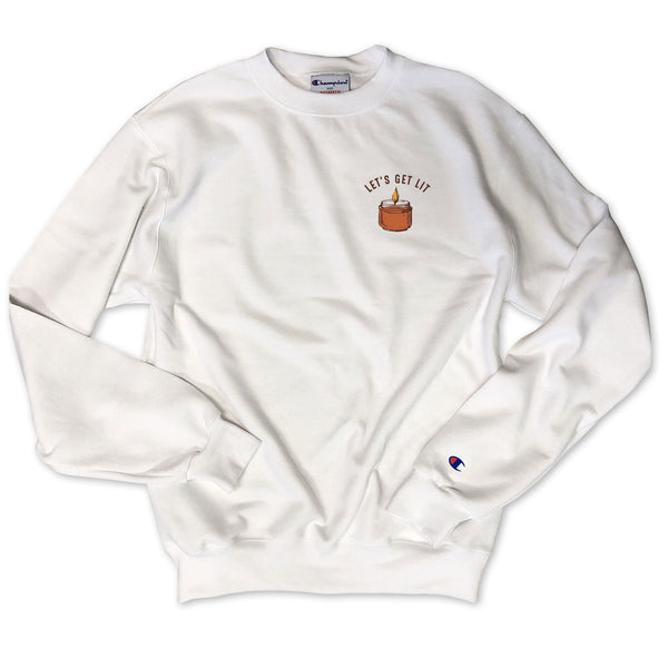 Limited: Let's get Lit ... Pumpkin Spice Candle White Champion Brand Sweatshirt