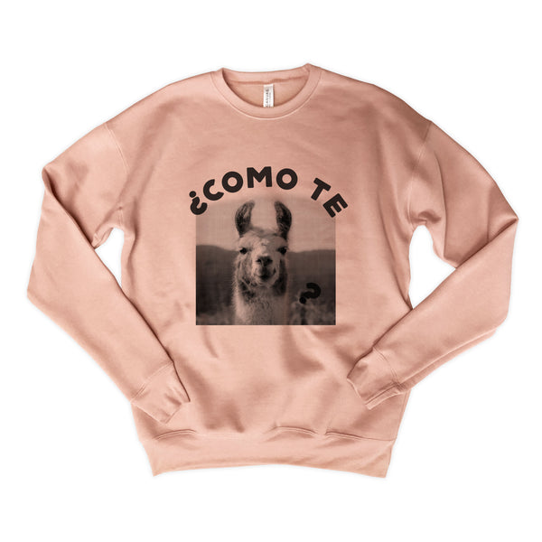 SALE! Como Te Llama ... Funny Drop Shoulder Crew Neck Peach Pink Sweatshirt