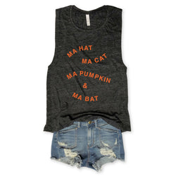 SALE... Ma Hat Ma Cat Ma Pumpkin & Ma Bat... Funny Triblend Charcoal Muscle Tee-Everfitte-[lululemon]-[chaser]-[athleta]-[spirtual gangster]-[champion]-[graphic tee]-[gym shirt]-[workout tee]-[funny shirt]-[funny tee]-[muscle tee]-Everfitte