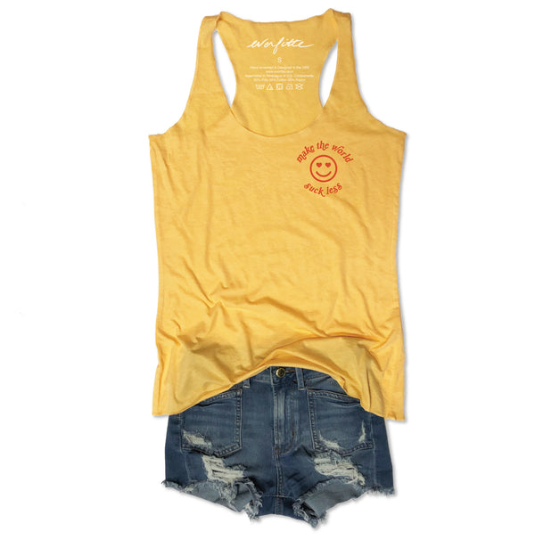Sale!!  Make The World Suck Less ... Funny Retro Yellow Triblend Racerback Tank