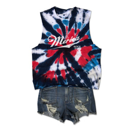 Merica Since 1776... Mid-Crop, Raw Edge Cotton Tie Dye Muscle Tee