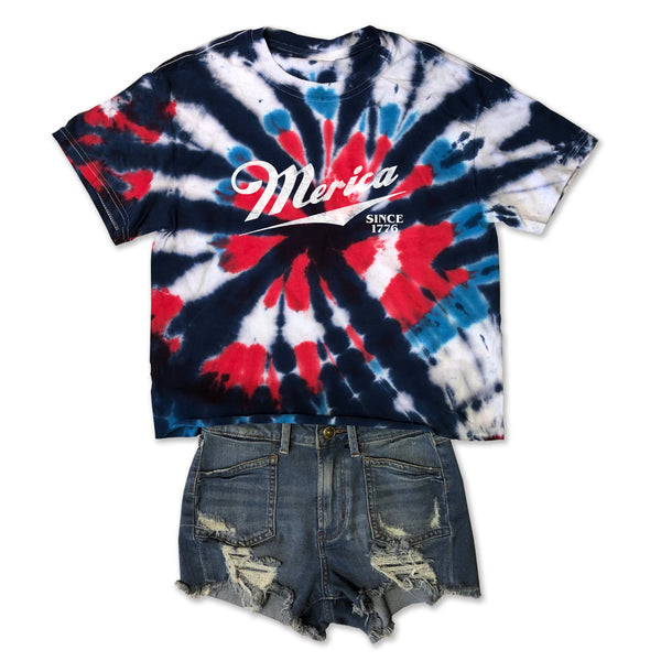 Merica Since 1776... Mid-Crop, Raw Edge Cotton Tie Dye Tee