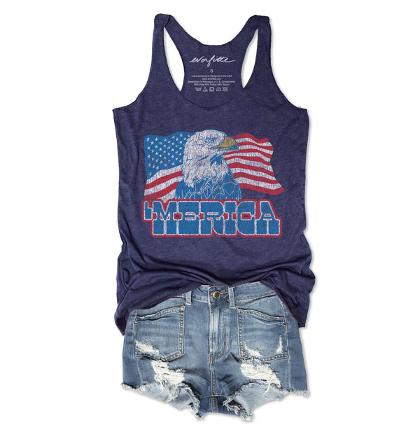 Merica Retro Eagle...Navy Triblend Racerback Tank-Everfitte-[maga]-[usa]-[patriot]-[patriotic tee]-[funny usa shirt]-[4th of July]-[July 4th]-[american flag shirt]-[trump tshirt]-[trump rally shirt]-[tea party shirt]-[funny political shirt]-[biden shirt]-[liberal tshirt]-[republican tshirt]-Everfitte