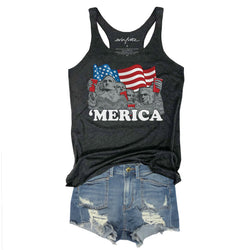 Merica Mount Rushmore Solo Cup ... Retro Charcoal Triblend Racerback Tank-Everfitte-[maga]-[usa]-[patriot]-[patriotic tee]-[funny usa shirt]-[4th of July]-[July 4th]-[american flag shirt]-[trump tshirt]-[trump rally shirt]-[tea party shirt]-[funny political shirt]-[biden shirt]-[liberal tshirt]-[republican tshirt]-Everfitte