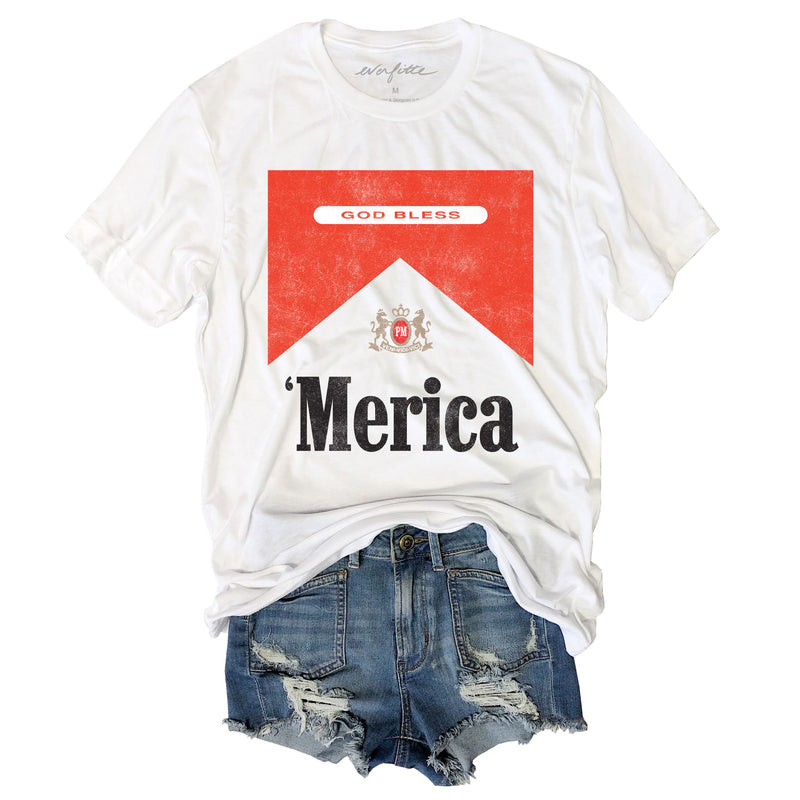 God Bless Merica ... Funny Unisex Super Soft White Solid Triblend Tee