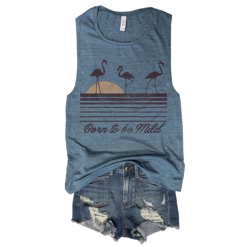 SALE! Born to be Mild ... Denim Blue Muscle Tee