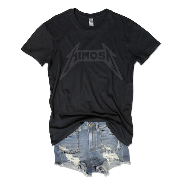 LIMITED... Heavy Metal Mimosa ... Washed Black Garment Dyed Unisex Tee-Everfitte-[drinking shirt]-[alcohol shirt]-[bachelorette party]-[bridal party]-[funny shirt]-[funny tee]-[shirt with words]-[coffee in the shower]-[lululemon]-[chaser]-Everfitte