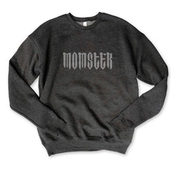 MOMSTER... Charcoal Triblend Drop Shoulder Crew Neck Sweatshirt