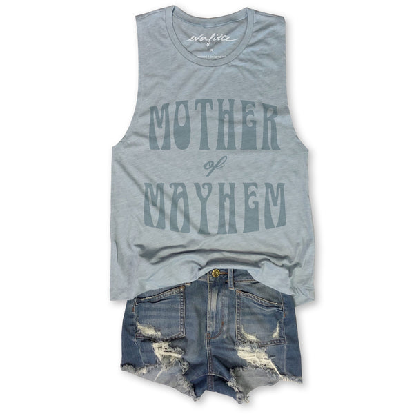 Mother of Mayhem ... Ocean Blue Muscle Tee
