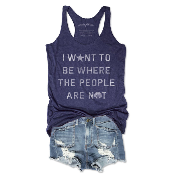 I Want To Be Where the People Are Not ...Retro Navy Triblend Racerback Tank-Everfitte-[lululemon]-[chaser]-[athleta]-[spirtual gangster]-[champion]-[graphic tee]-[gym shirt]-[workout tee]-[funny shirt]-[funny tee]-[muscle tee]-Everfitte
