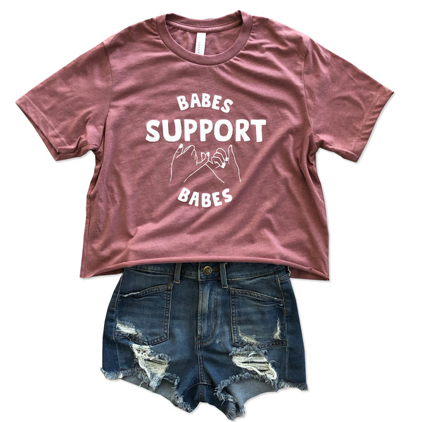 Babes Support Babes  ... Slouchy Cotton Vintage Rose Mid-crop Tee