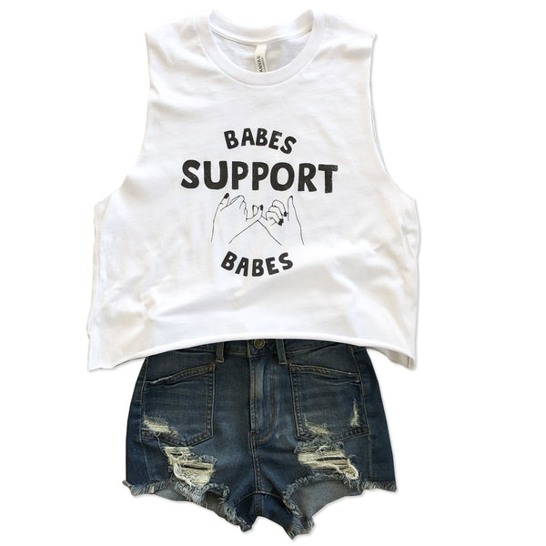 Babes Support Babes  ... Slouchy Cotton White Mid-crop Muscle Tee