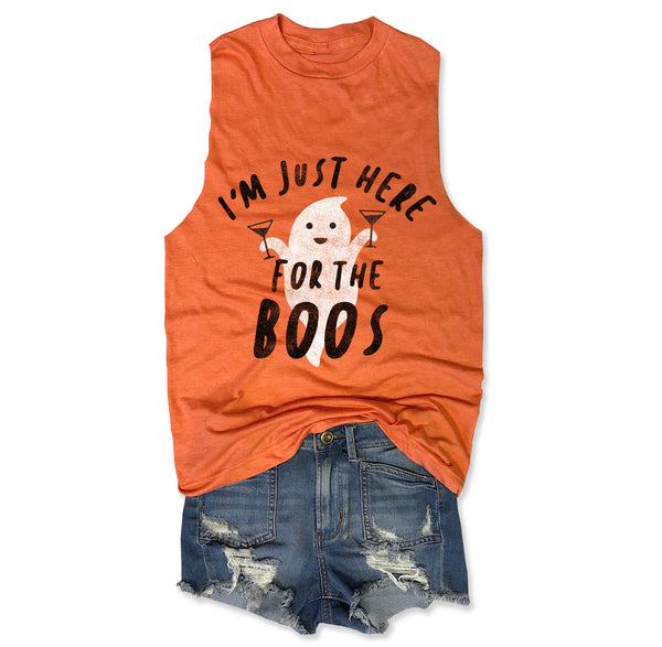 LImited: I'm Just Here for The Boos ... Orange Triblend Raw Edge Muscle Tee