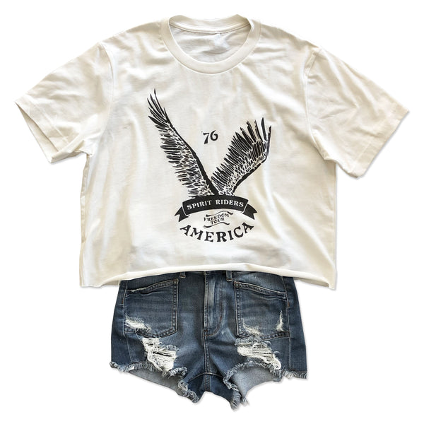America 76 ... Slouchy Cotton Vintage Ivory Mid-crop Tee-Everfitte-[maga]-[usa]-[patriot]-[patriotic tee]-[funny usa shirt]-[4th of July]-[July 4th]-[american flag shirt]-[trump tshirt]-[trump rally shirt]-[tea party shirt]-[funny political shirt]-[biden shirt]-[liberal tshirt]-[republican tshirt]-Everfitte